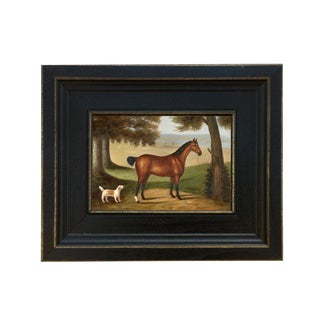 Horse and Dog Landscape Oil on Canvas Reproduction Painting For Sale