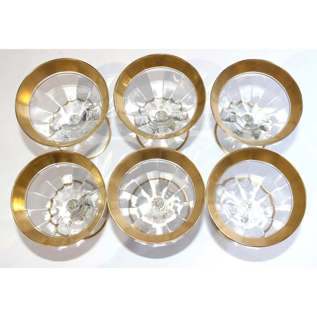 Metal Vintage Champagne Coupes Sherbets Aperitif With Gold Band and Base Rim - Set of 6 For Sale - Image 7 of 13