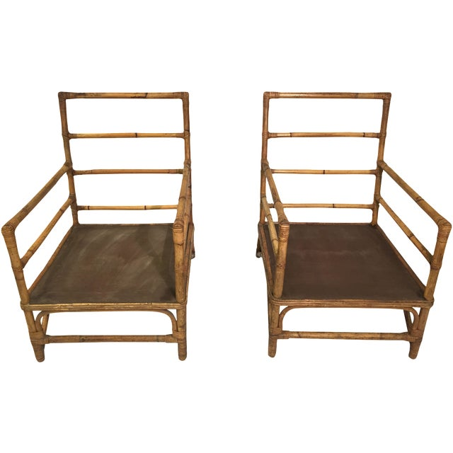 1930s Hollywood Regency Rattan Chairs - A Pair - Image 1 of 7
