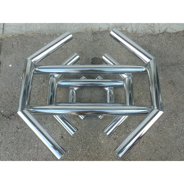 Incredible 70's stacked architectural chrome tubular coffee table base sold as found in good vintage condition showing...