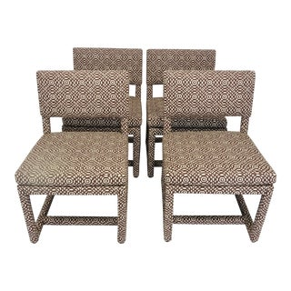 Mid-Century Modern Milo Baughman Brown Upholsterd Parsons Chairs - Set of 4