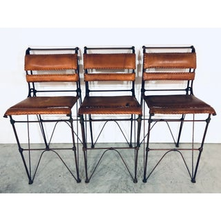 Ilana Goor Leather and Iron Bar Stools - Set of 3 Preview