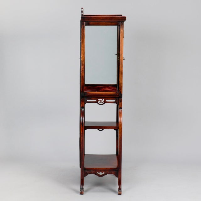 Red Tall Narrow Chinese Carved Wood Vitrine Display Cabinet For Sale - Image 8 of 11