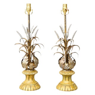 Pair of Silvergilt Acanthus and Wheat Lamps For Sale