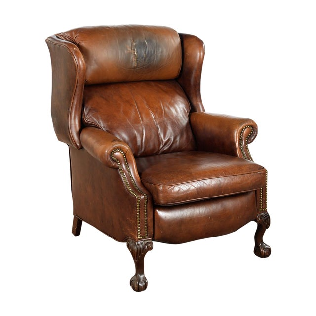 Leather Sofas For Sale In Northern Ireland: Vintage Reclining Brown Leather Chair
