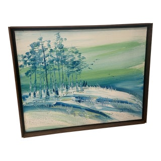 Mid 20th Century Abstract Landscape Oil Painting, Framed For Sale