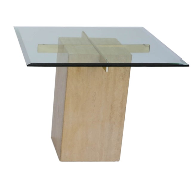 Travertine Brass & Glass End Table - Image 1 of 10