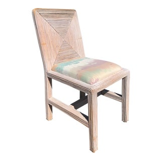 Vintage Pencil Reed Boho Rattan Side Chair For Sale