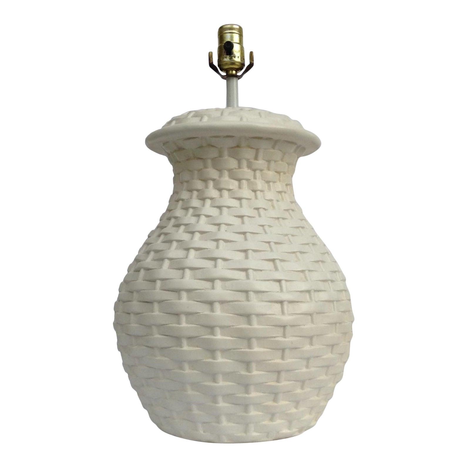 Mid Century Plaster Ceramic Bulbous Basketweave Lamp