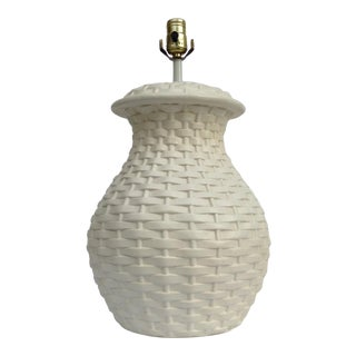 Mid-Century Plaster Ceramic Bulbous Basketweave Lamp For Sale