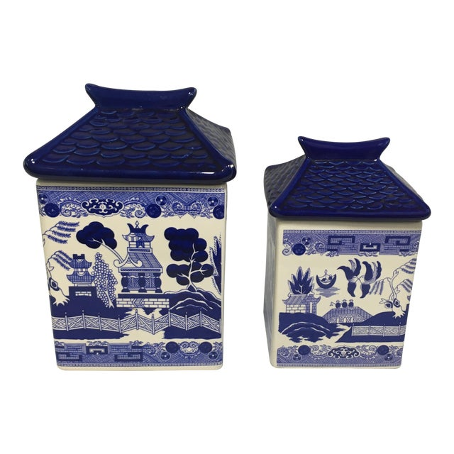 Blue Willow Ceramic Canisters - A Pair - Image 1 of 8