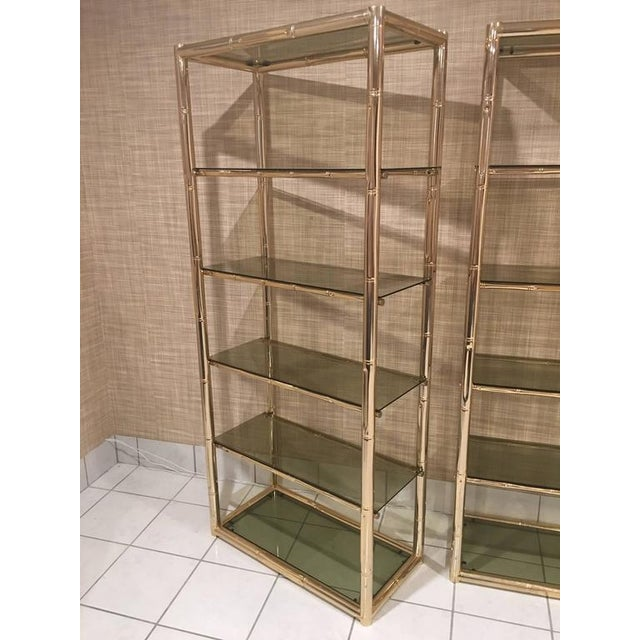 Hollywood Regency Faux Bamboo Brass Etagere Display Shelves - A Pair For Sale - Image 3 of 12