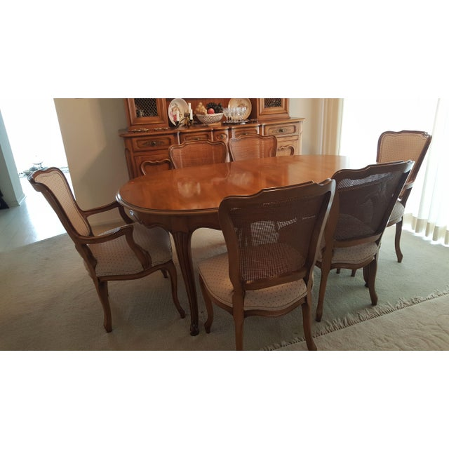 Wood Watertown Slide Dining Room Table 6 Chairs And Leaf Set For Sale