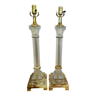 Mid 20th Century Corinthian Column-Style Marble, Glass & Brass Table Lamps - a Pair For Sale