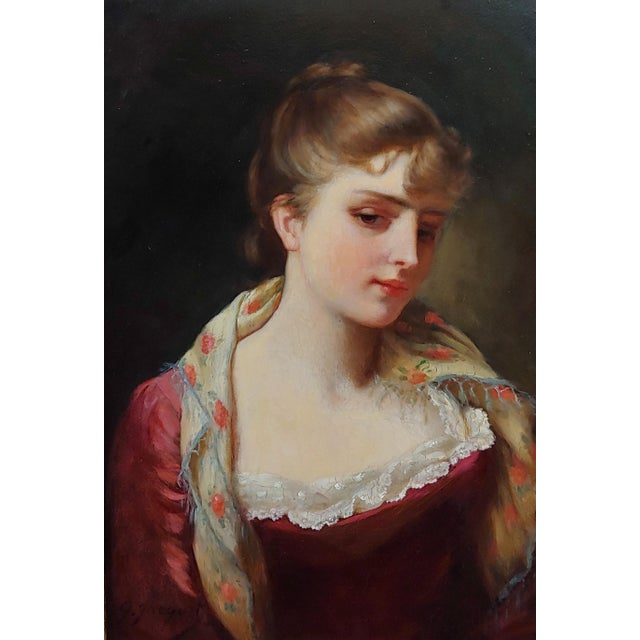 """American 19th Century Gustave Jean Jacquet """"Portrait of an Elegant Young Lady"""" Oil Painting For Sale - Image 3 of 11"""