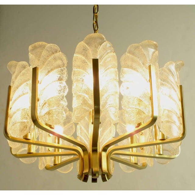 Art Deco Murano Glass Acanthus Leaf and Brass Ten-Arm Chandelier For Sale - Image 3 of 10