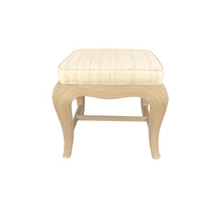 Vintage French Regency Sculpted Wicker Footstool For Sale