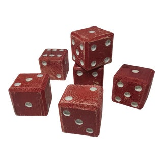 Giant Vintage Hand Carved/Painted Wooden Dice Set of 6 For Sale