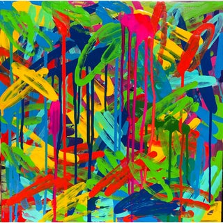"""Contemporary Abstract Pigmented Ink on Panel """"Fiesta"""" by Mirtha Moreno For Sale"""