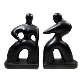 Mid-Century Modernist Alexander Backer Abstract Figural Sculpture Bookends - a Pair