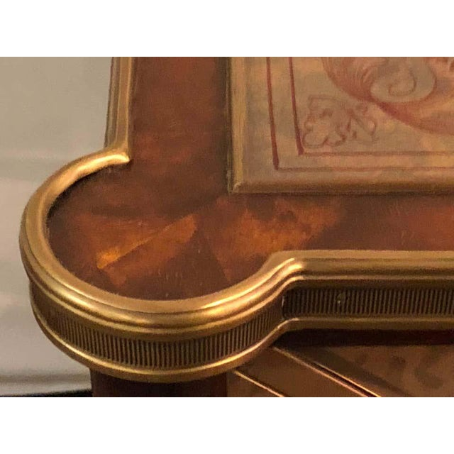 Hollywood Regency Bronze Decorated End Table X-Base Sides Tortoise Glass Top For Sale - Image 4 of 11