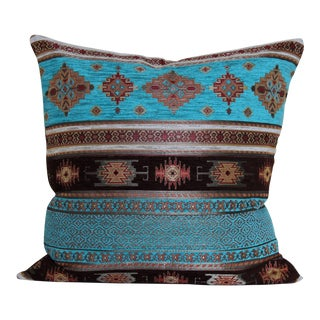 Turkish Kilim Patterned Turquoise and Blue Decorative Throw Pillow For Sale