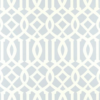 Sample - Schumacher Imperial Trellis Wallpaper in Soft Aqua Blue For Sale