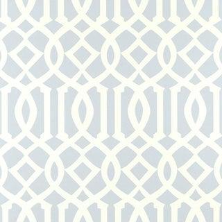 Sample - Schumacher Imperial Trellis Wallpaper in Soft Aqua Blue For Sale
