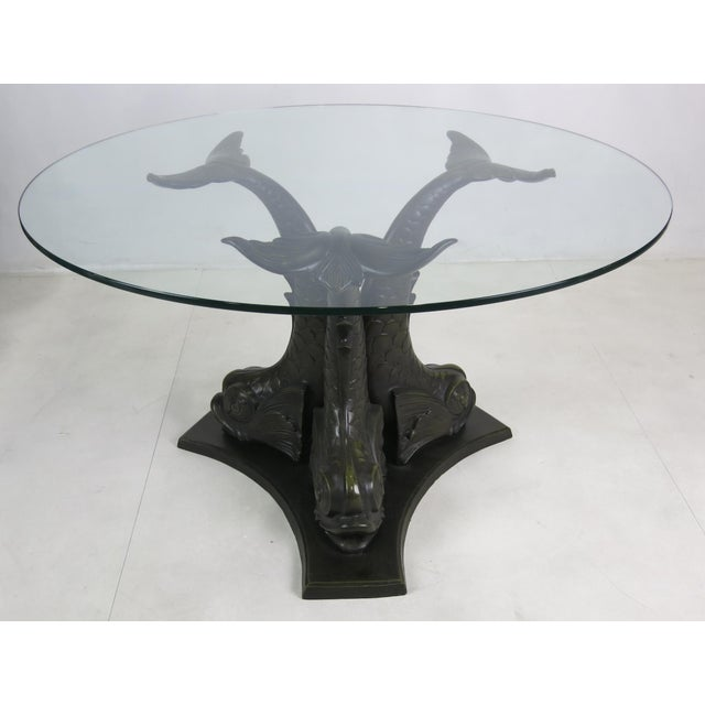 Neoclassical Revival Large Scale Patinated Bronze Venetian Dolphin Dining Table For Sale - Image 3 of 5