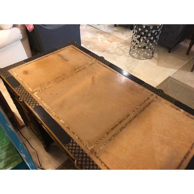 Asian Regency Faux Bamboo Double Pedestal Partners Desk For Sale - Image 3 of 13
