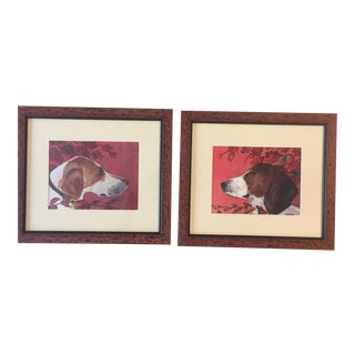 Pair Foxhound Dog Prints by Judy Henn For Sale