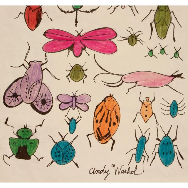 "Mid-Century Modern Andy Warhol ""Happy Bug Day!"", Original Large Drawing, Signed and Sealed For Sale - Image 3 of 9"