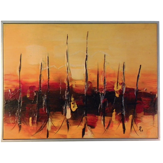 Mid-Century Modern Orange Abstract Painting - Image 1 of 7