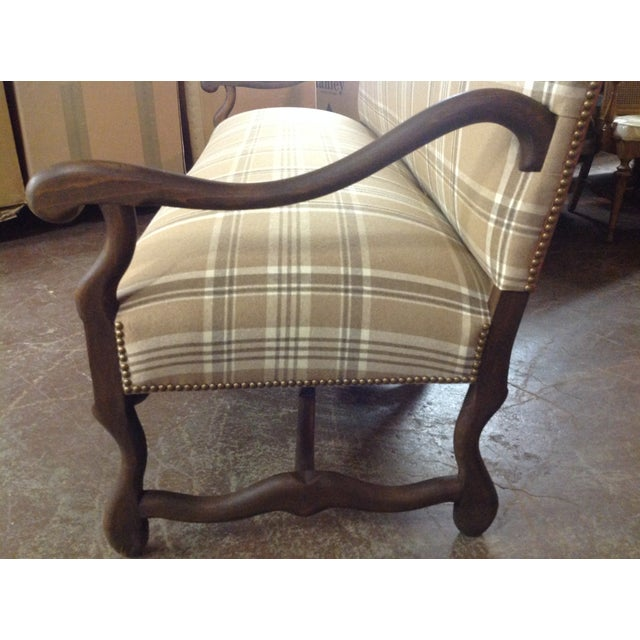 French Settee in Ralph Lauren Wool Plaid & Ostrich - Image 4 of 7