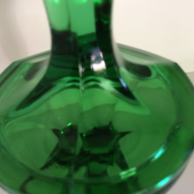 Crystal Vintage Green Crystal Candle Sticks by Fostoria For Sale - Image 7 of 11