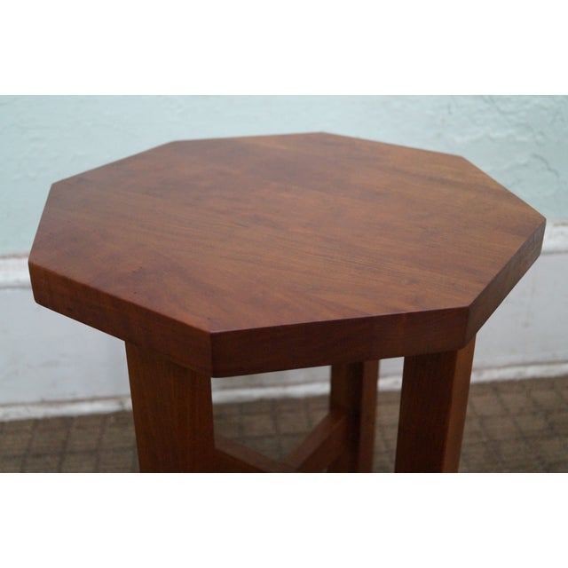 Mission Stickley Mission Style Cherry Octagon Small Side Table Taboret Stand For Sale - Image 3 of 10