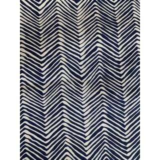 Quadrille Alan Campbell Navy Petite Zig Zag Fabric 3 Yards For Sale