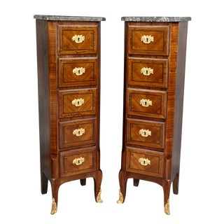 Louis XVI Style Tulipwood and Ormolu Mounted Petit Commodes - a Pair For Sale