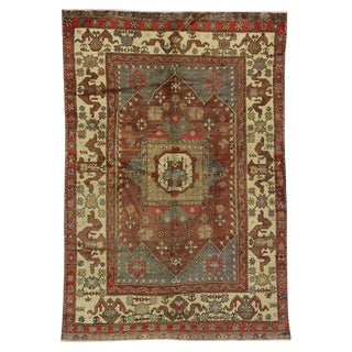 20th Century Turkish Oushak Area Rug - 5′10″ × 8′8″ For Sale
