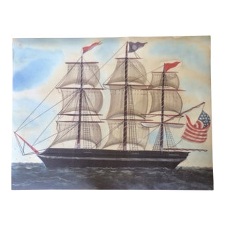 Vintage Vinyl Floorcloth American Sailing Ship Design For Sale