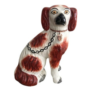 19th Century English Staffordshire Russet and White Seated Spaniel Dog For Sale