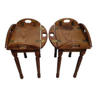 Wooden Butler Tray Tables- A Pair For Sale