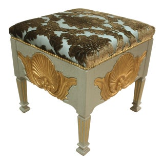 French Shell Hand Carving and Gold Leaf and Velvet Damask Top Stool For Sale