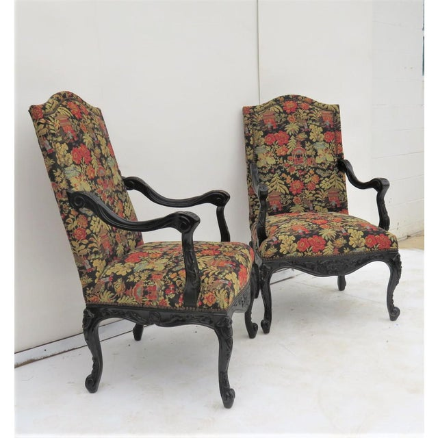 French Style Ebonized Armchairs - A Pair | Chairish