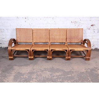 Calif-Asia Mid-Century Hollywood Regency Rattan Four-Piece Sectional Sofa, 1950s Preview