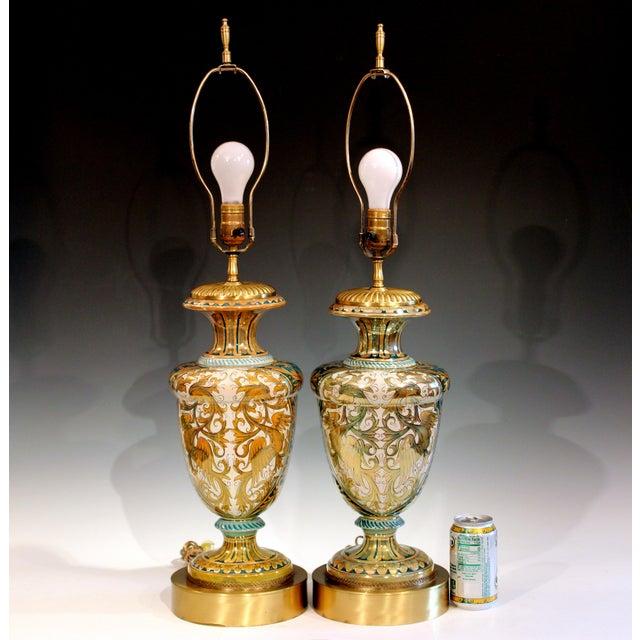 Vintage Gualdo Tadino Luster Pottery Italian Majolica Gargoyle Robbia Lamps - a Pair For Sale - Image 12 of 12