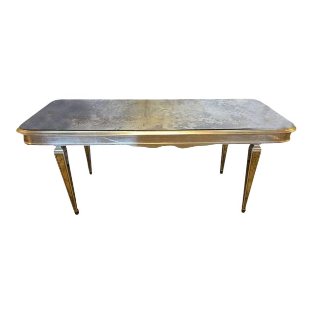 Antique Mirrored Hollywood Regency Decorative Dining Room Table For Sale