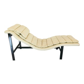 Mobel Italia Cream Leather Black Chrome Chaise Lounge For Sale