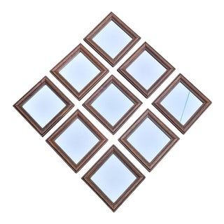 Late 20th Century Group of Matching Diminutive Primitive Wood Framed Mirrors - Set of 9 For Sale