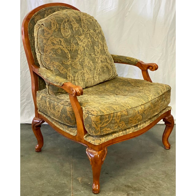 American Vintage Walnut Drexel Heritage Upholstered Bergere Chair For Sale - Image 3 of 10